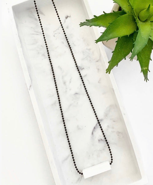Black Chain Teething Bar Necklace | White