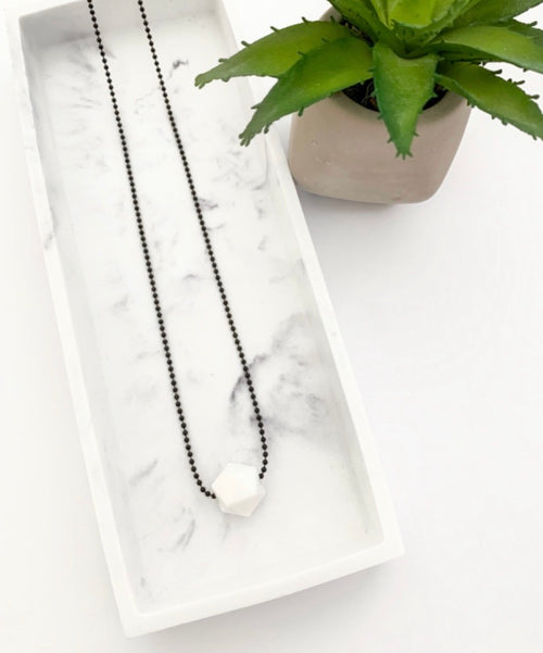 Black Chain Teething Necklace | White