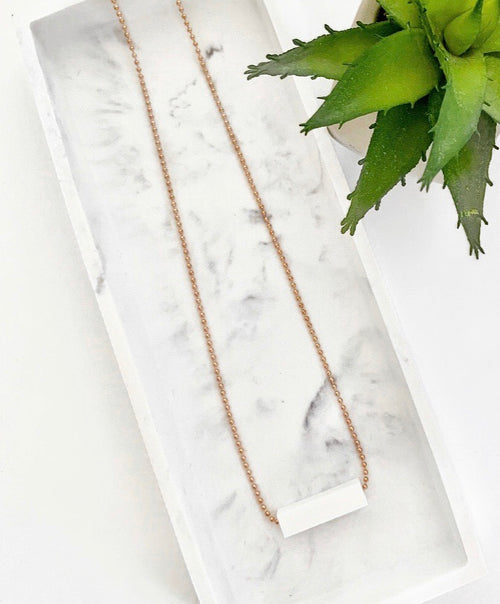 Rose Gold Chain Teething Bar Necklace | White