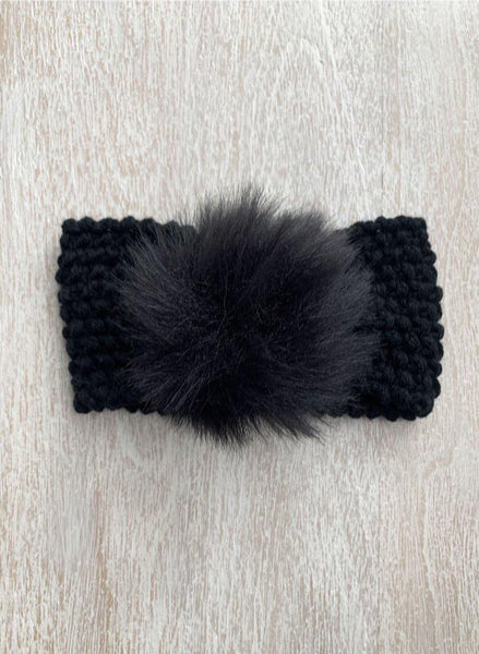 Winter Fur Pom Headband | Black