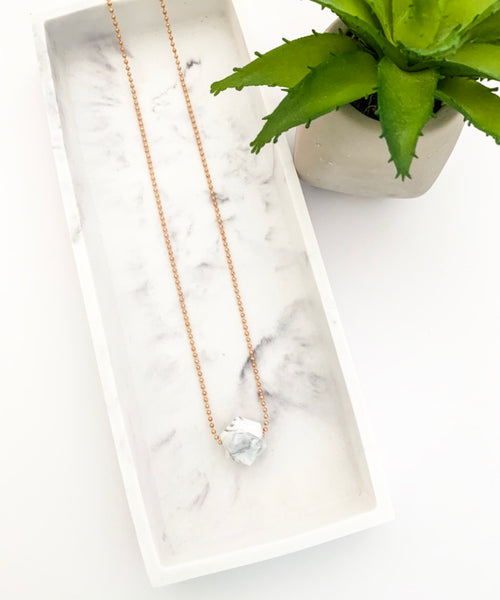 Rose Gold Chain Teething Necklace | Marble
