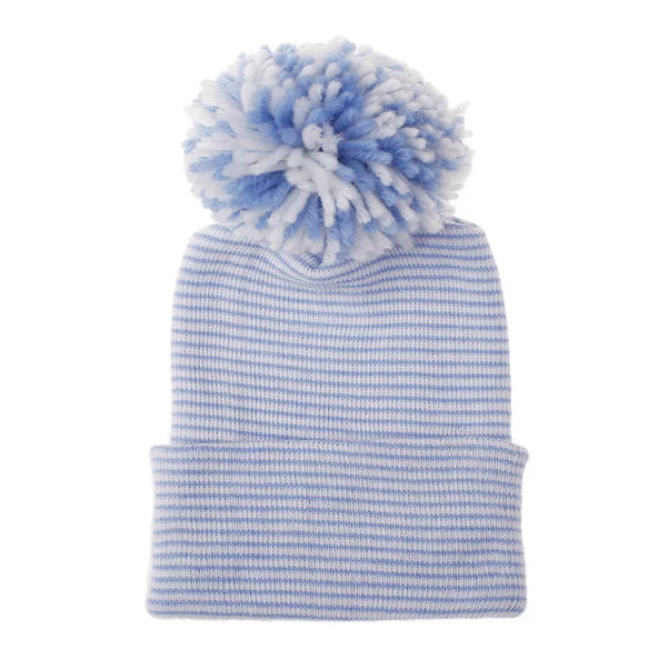 Newborn Pom Hat | Blue + White Stripe