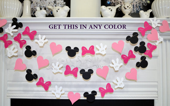 Minnie Mouse Birthday Banner 1st Party Decorations Garland Pink Purple