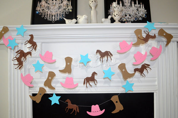 Cowgirl Party Decoration Cowgirl Theme Party Cowboy Boots Cowboy Hat Garland Horse Garland Cowgirl Banner Cowgirl Baby Shower