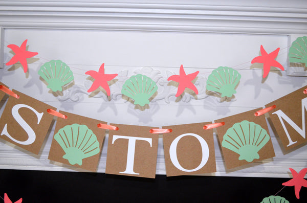 beach bridal shower decorations mint and coral miss to mrs banner sea shells bachelorette