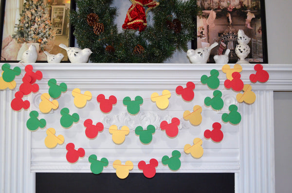 mickey mouse christmas decorations mickey mouse christmas garland christmas mickey mickey cruise decoration - Mickey Mouse Christmas House Decorations