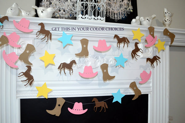 Cowgirl Garland Banner Birthday Party Decorations Boots