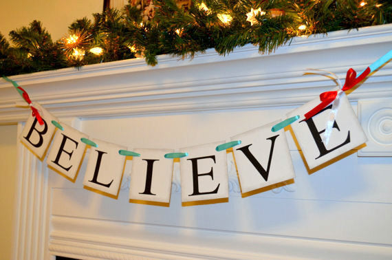 believe christmas banner holiday garland christmas banner christmas mantle sign holiday decor