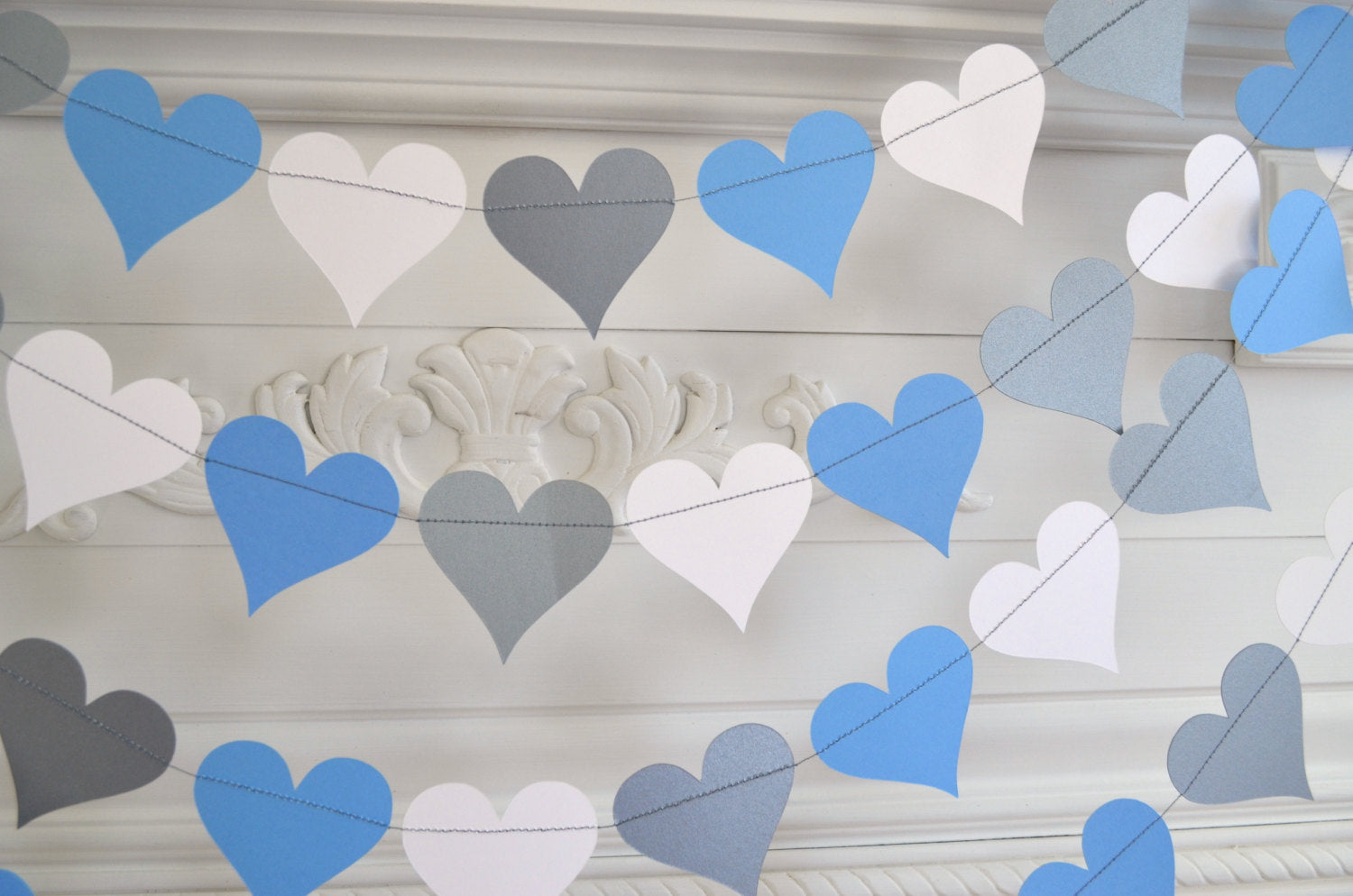 Silver Blue White Heart Garland, Baby boy decorations, bridal shower ...