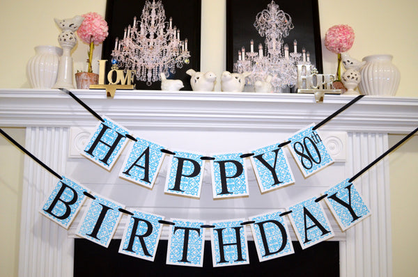 Happy Birthday Banner Garland Damask 80th 40 50