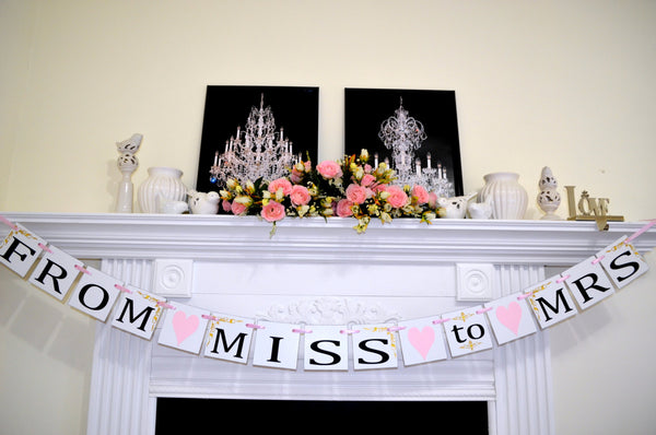 from miss to mrs banner gold bridal shower decorations miss to mrs sign