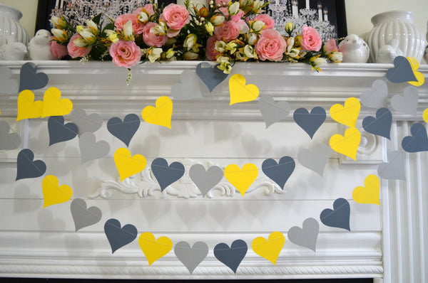 Wedding heart garland yellow gray paper hearts wedding decor wedding heart garland yellow gray paper hearts wedding decor bridal shower decor junglespirit Image collections