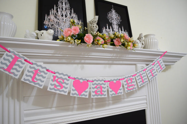 Its A Girl Banner Chevron Baby Shower Banner Shower Decorations