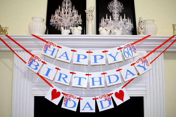 Happy Birthday Day Decorations Male Banner Fathers 60th 50th
