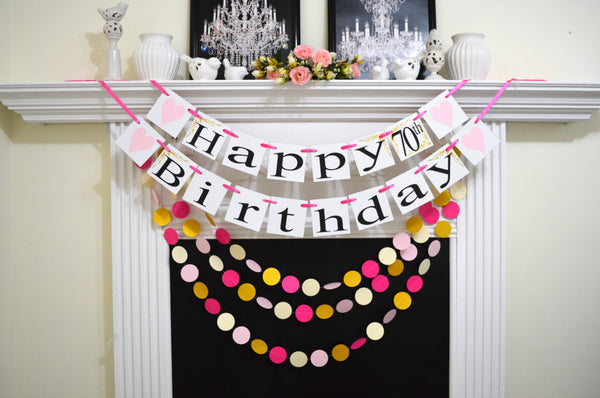 Happy 70th Birthday Banner Pink Mint Gold Heart