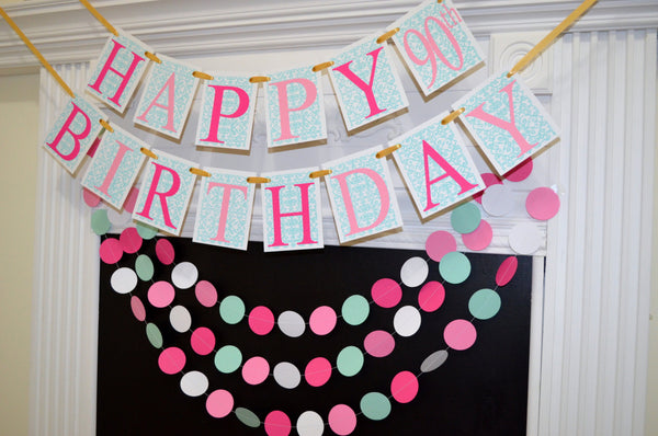 Happy 90th Birthday Banner Party Decoration Pink Blue Girls 50th