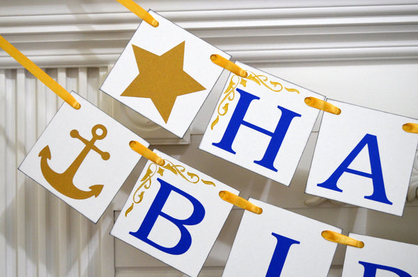 Gold Anchor HAPPY 50th Birthday Royal Blue Banner Decorations Photo Prop 30th 40th
