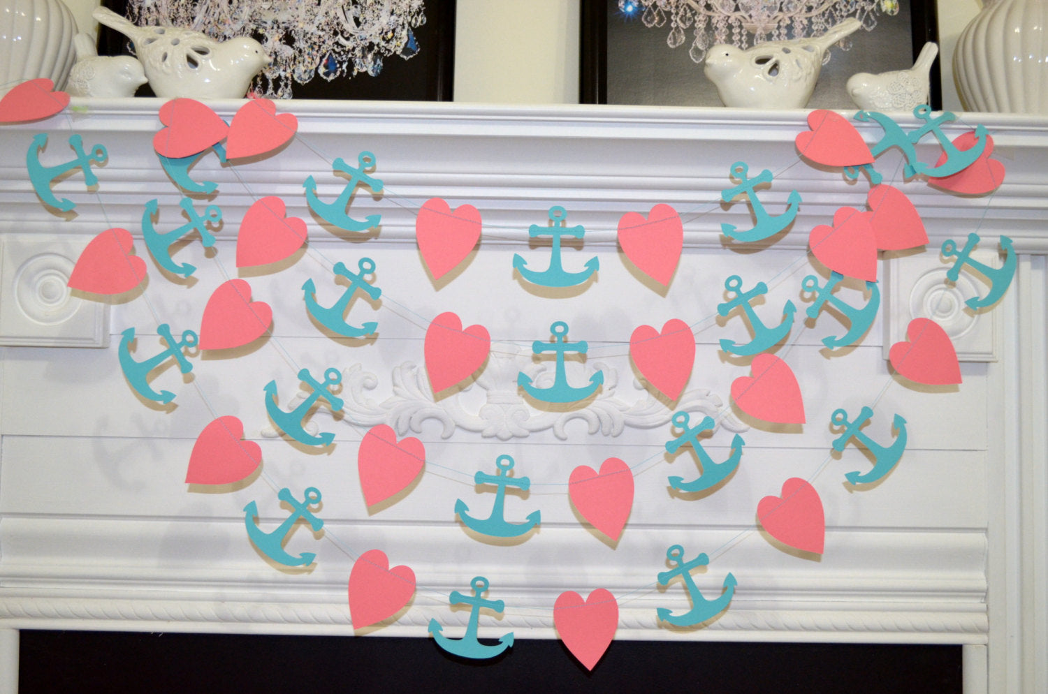 Coral Heart and anchor garland, nautical decorations, nautical baby ...