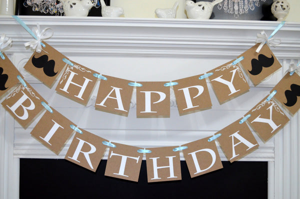 Rustic Happy Birthday Banner Baby Boy Decoration Blue White Garland