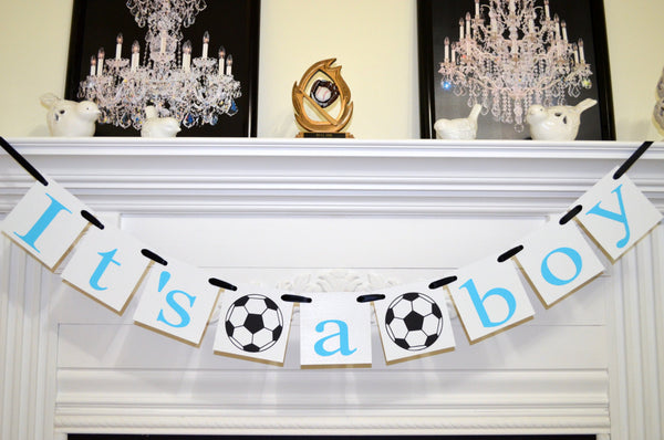 its a boy banner soccer theme baby shower decorations baby room decor baby