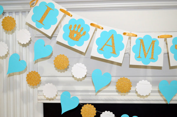 I Am One Princess Birthday Banner First Decoration Gold Blue Party Decorations