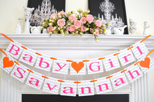 Chevron Baby Girl Name Banner, Baby Shower Childrenu0027s Name Banner Garland,  Chevron Stripes Welcome