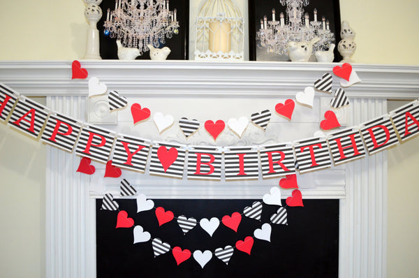 Happy Birthday Banner Valentines Garland Set Queen Of Hearts Decorations
