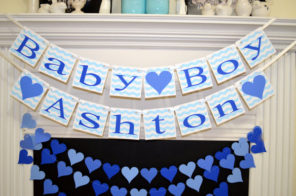 baby boy shower banner welcome baby boy blue chevron garland