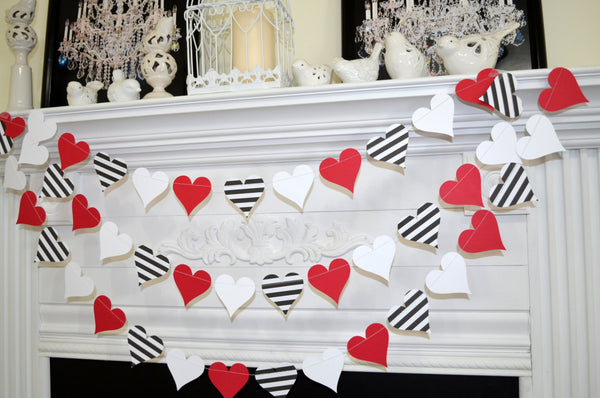 Valentines Day Decor Garland Queen Of Hearts Birthday Decorations Black White Red