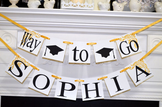 graduation banner graduation decoration way to go name banner