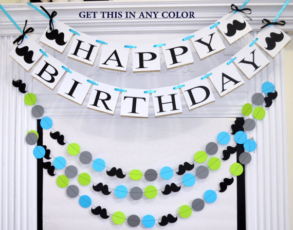 Happy 1st Birthday Banner Garland Set Boy First Decorations Lime Green Blue Black Mustache
