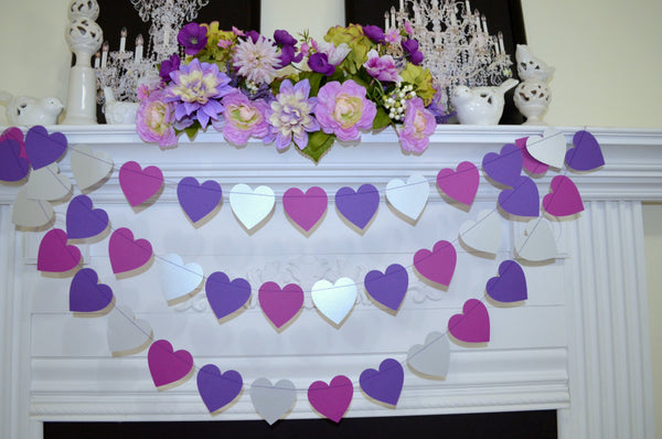 Purple heart garland violet grape silver wedding heart decoration purple heart garland violet grape silver wedding heart decoration purple bridal shower purple junglespirit Image collections