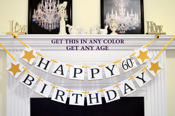 Happy 60th Birthday Banner Garland Party Decorations 40th