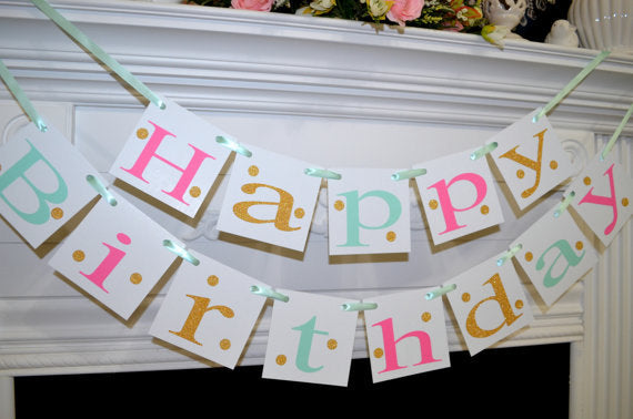 Happy 30th Birthday Banner Gold Mint Pink 40th 50th 60th
