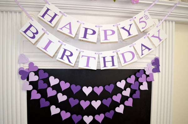 Happy 5th Birthday Banner Purple Party Decoration Girls Baby