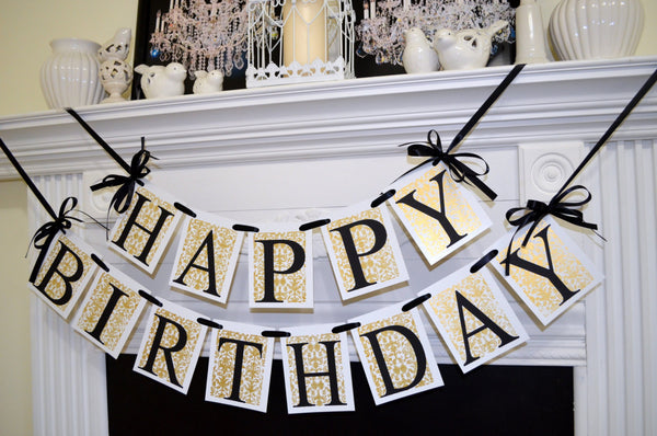 HAPPY BIRTHDAY Banner Gold Damask Black Birthday Decorations Rustic Adult Unisex