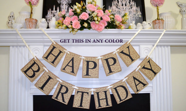 Happy Birthday Banner Rustic Decor Lace Unisex Sign