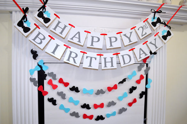 happy 2nd birthday banner garland set 1st birthday little man birthday banner red