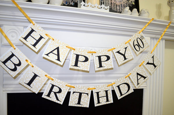 HAPPY 60th Birthday Banner Gold Decorations Garland Party Decor
