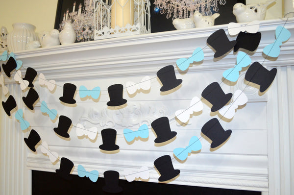 Top Hat And Bow Tie Garland Baby Shower Blue Party Decoration