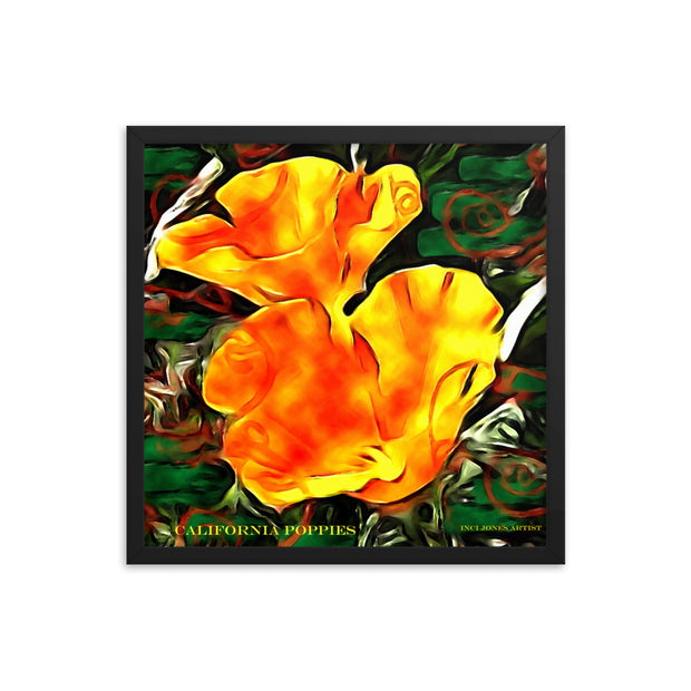 California Poppies - Art Poster Framed