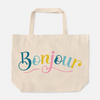 Bonjour Colorful French Oversized Tote Bag