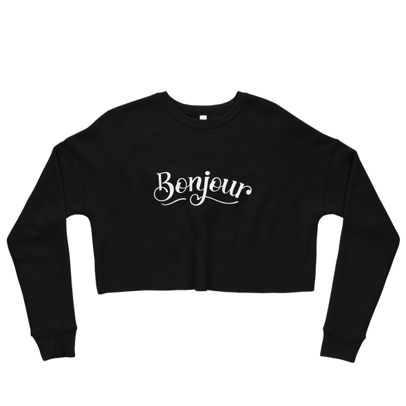 Bonjour Crop Top Sweatshirt in Black