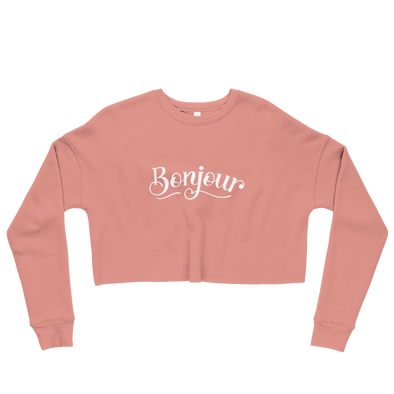 Bonjour Crop Top Sweatshirt in Mauve Pink