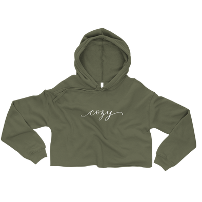 Cozy Crop Top Sweatshirt Hoodie in Army Green