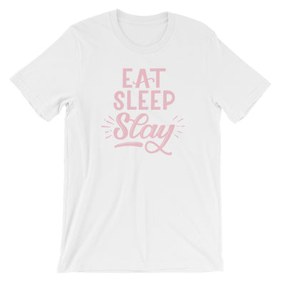 Eat Sleep Slay Pink Design T-Shirt in White