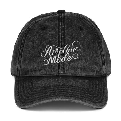 Black Airplane Mode Vintage Hat