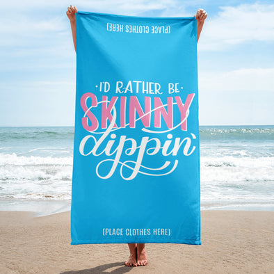 I'd Rather Be Skinny Dipping Hand lettered Beach Towel in Blue