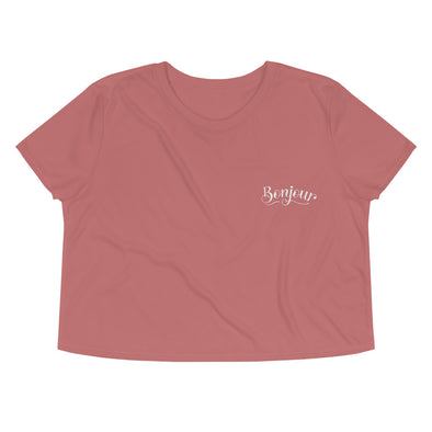 Bonjour Embroidered Crop Tee