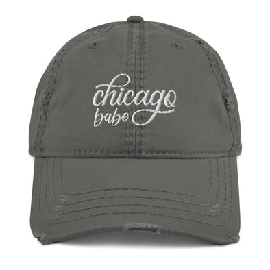 Grey Chicago Babe Distressed Hat